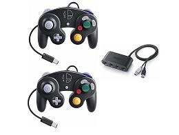 Pack 2 Controles Game Cube SSBU + Adaptador