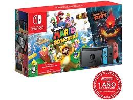 Nintendo Switch Neon + Super Mario 3D World Bowser